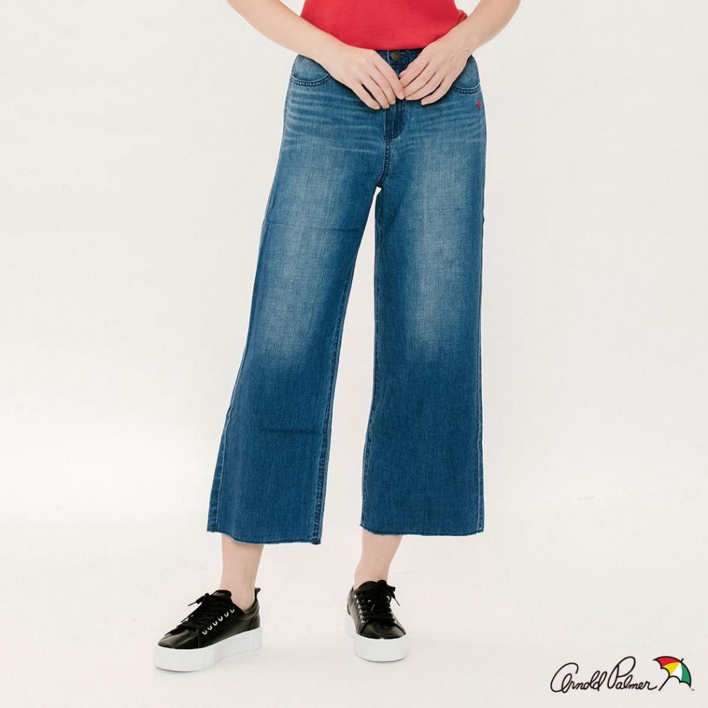Arnold Palmer-女裝-棉麻混紡牛仔寬褲-淺藍