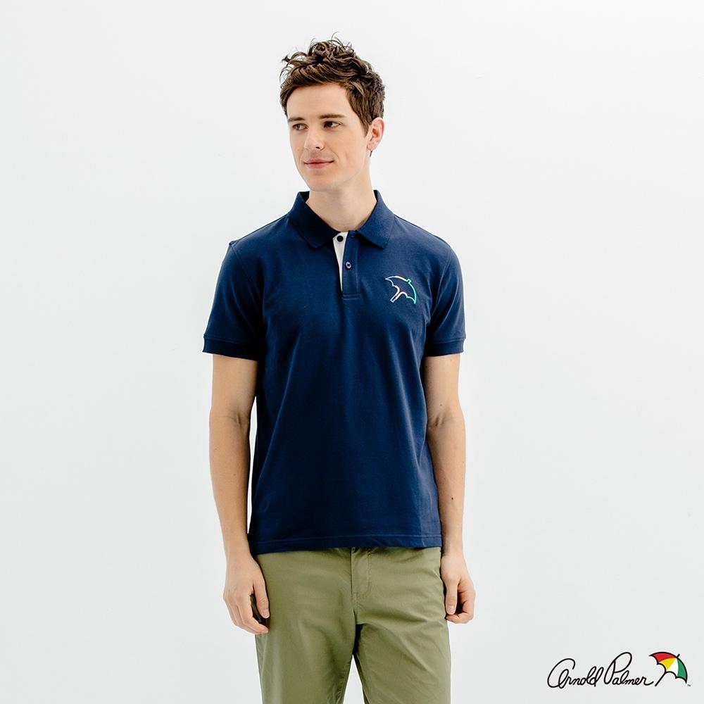 Arnold Palmer -男裝-經典大傘框彈性網眼POLO衫-藍色