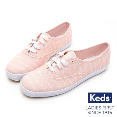 Keds CHAMPION 手繪藝術塗鴉綁帶休閒鞋-粉紅