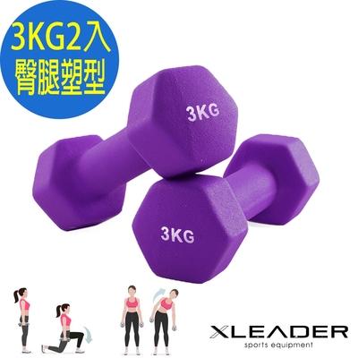 Leader X 熱力燃脂 彩色包膠六角韻律啞鈴 2入組 3KG 紫色