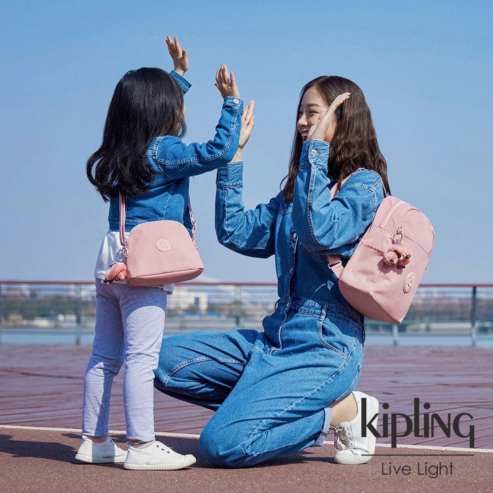 Kipling 玫瑰石英粉雙圓頭拉鍊後背包-FERRIS