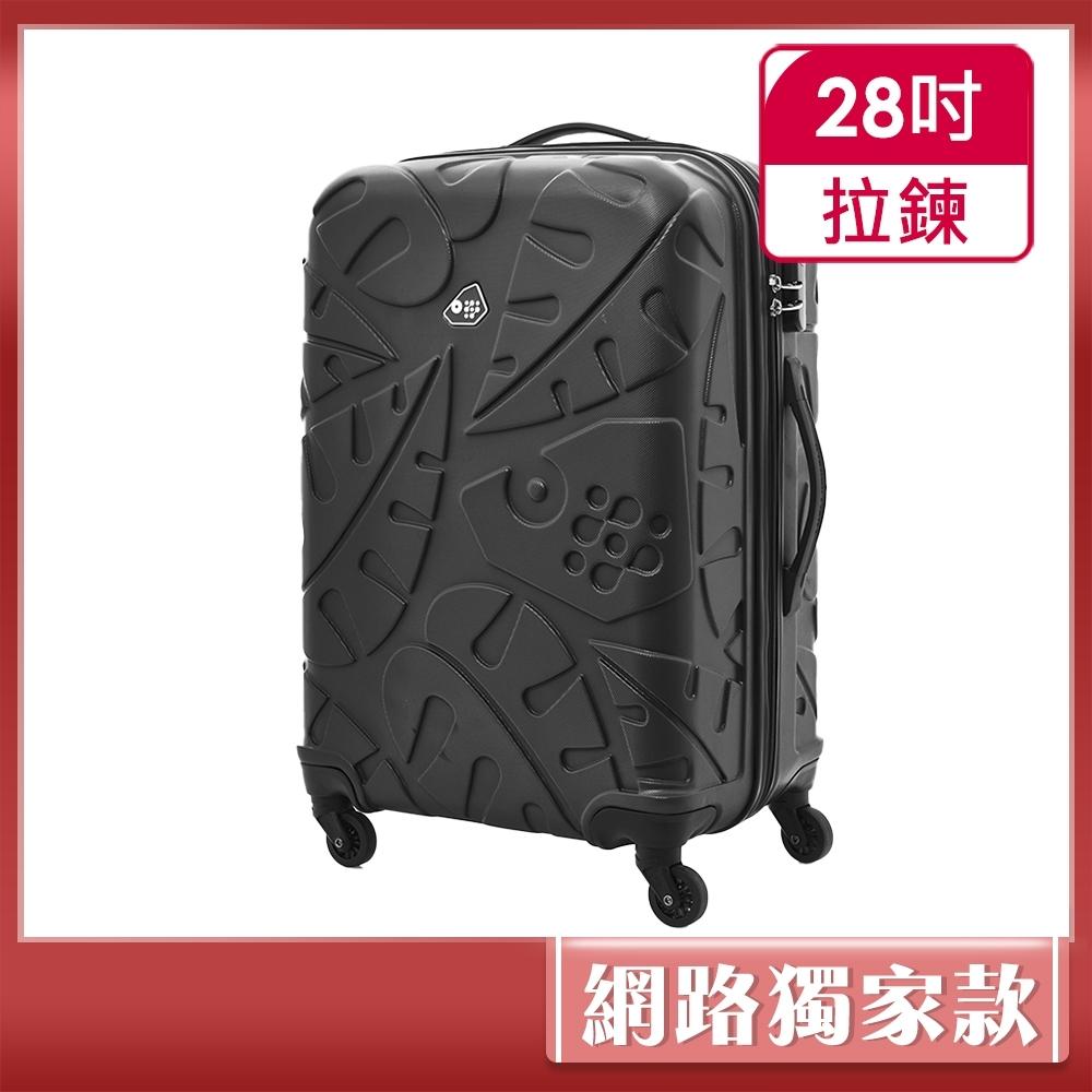Kamiliant卡米龍 28吋Pinnado立體羽毛圖騰防刮四輪硬殼TSA行李箱(黑)