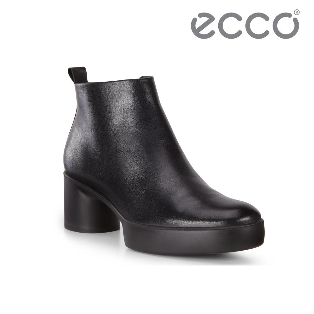 ECCO SHAPE SCULPTED MOTION 35 粗跟拉鍊踝靴 女-黑