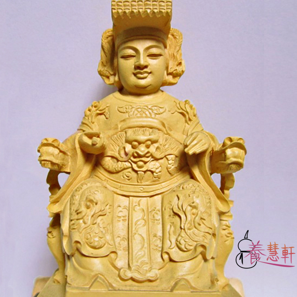 養慧軒 金剛砂陶土精雕佛像 媽祖娘娘(木色)(高12cm)