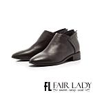 Fair Lady縫線皮革拼接後拉鍊低跟短靴 黑