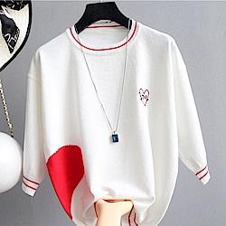 初色  愛心拼色五分袖針織衫-共2色-(F可選)