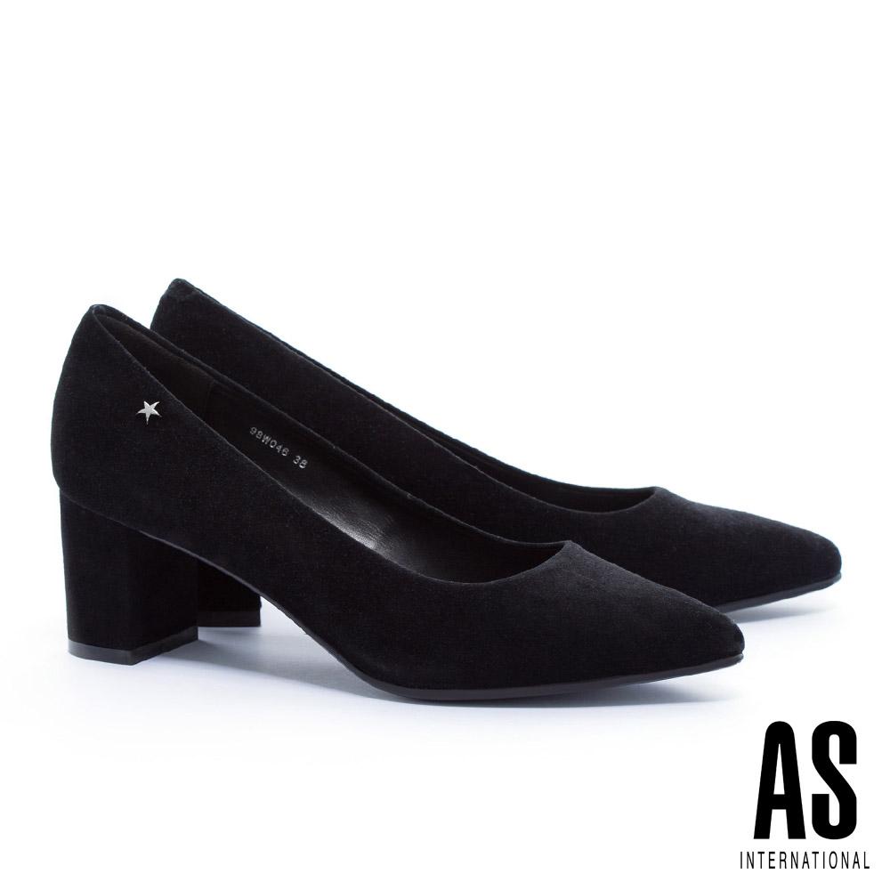高跟鞋 AS 復古氣質星星鉚釘全真皮尖頭粗跟高跟鞋-黑