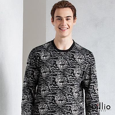 歐洲貴族 oillio 長袖T恤 滿版圖樣 亮眼虎紋 灰色