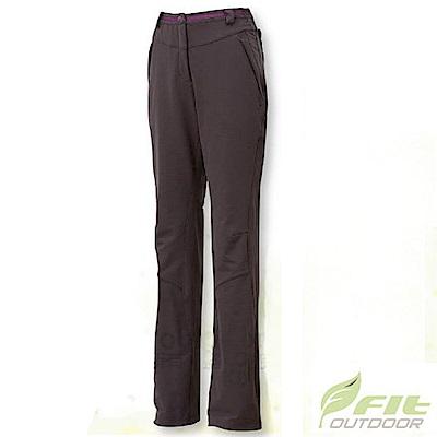 FIT 女 彈性吸排抗靜電保暖長褲_EW2802 褐色 V