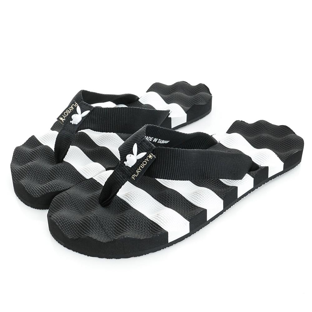 PLAYBOY條紋布面夾腳涼拖鞋-黑白-YT607C1