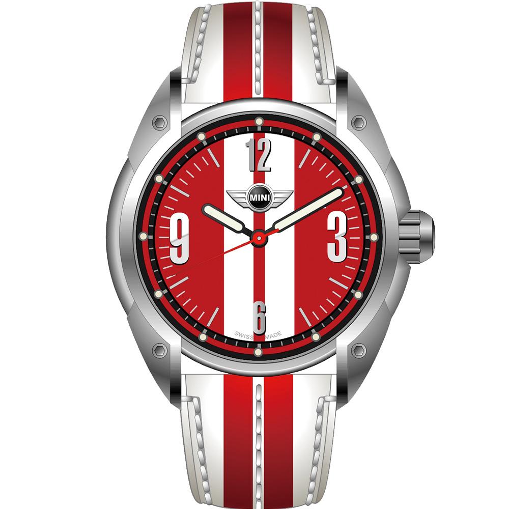 MINI Swiss Watches 休閒運動腕錶(MINI-82E)-白+紅/45mm