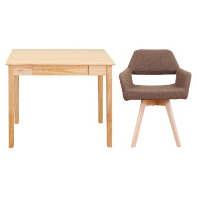 Bernice-簡約全實木書桌組合-原木色書桌+旋轉椅-四色-90x50x76cm