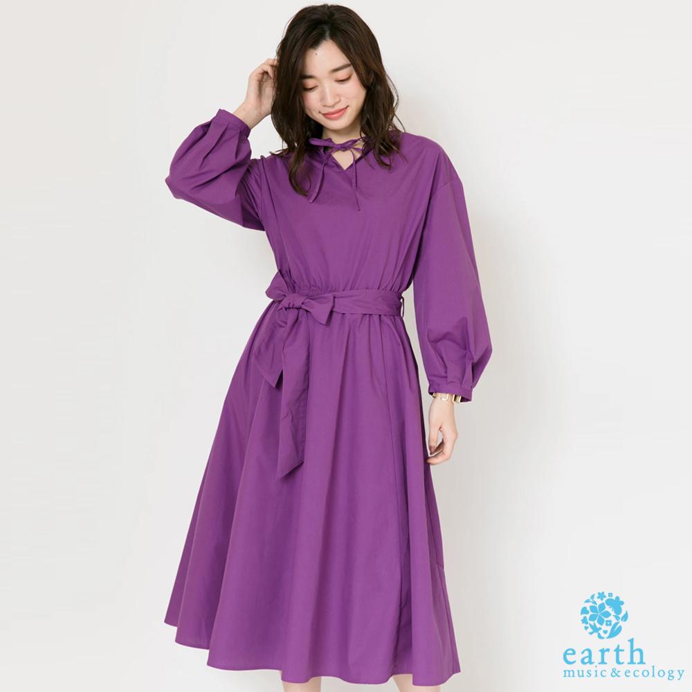 earth music 2WAY正反兩穿素面長袖連身洋裝