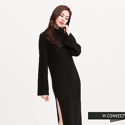 H:CONNECT 韓國品牌 女裝-高領粗羅紋寬袖洋裝-黑(快)