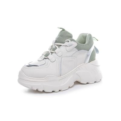 T2R-正韓空運-增高鞋真皮網布撞色隱形內增高厚底老爹鞋-增高10.5公分-綠