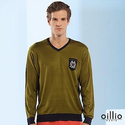 oillio歐洲貴族 長袖V領線衫 柔順天絲棉棉料 綠色