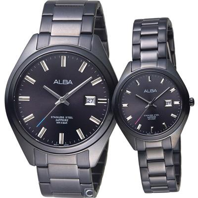 ALBA 愛戀密碼時尚對錶(AS9F81X1+AH7R19X1)黑