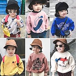 小衣衫童裝   中小童可愛圓領韓風卡童印花刷毛長袖T恤1071025