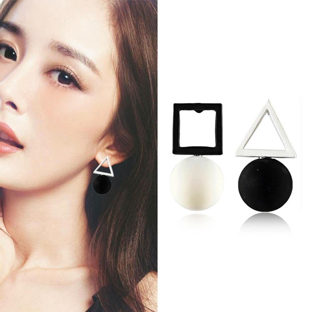 梨花HaNA  無耳洞韓國黑白幾何對比國度夾式耳環