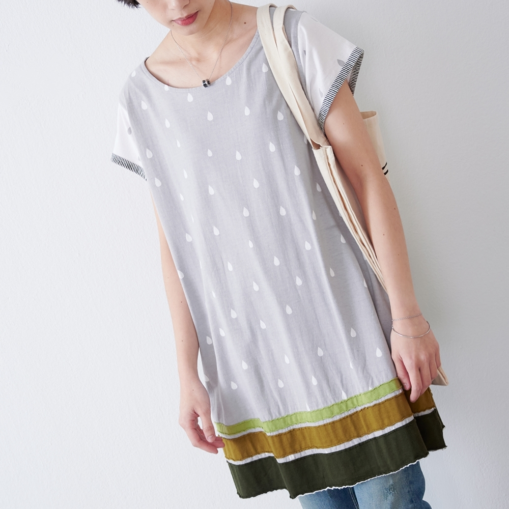 KT 撞色雨滴印花純棉洋裝- 灰色