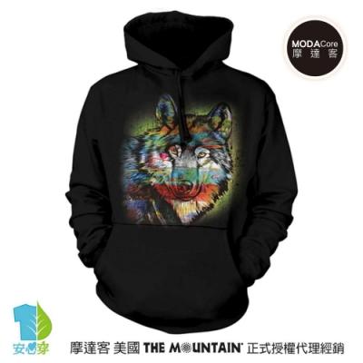 摩達客 美國The Mountain 手繪狼 環保藝術長袖連帽T恤