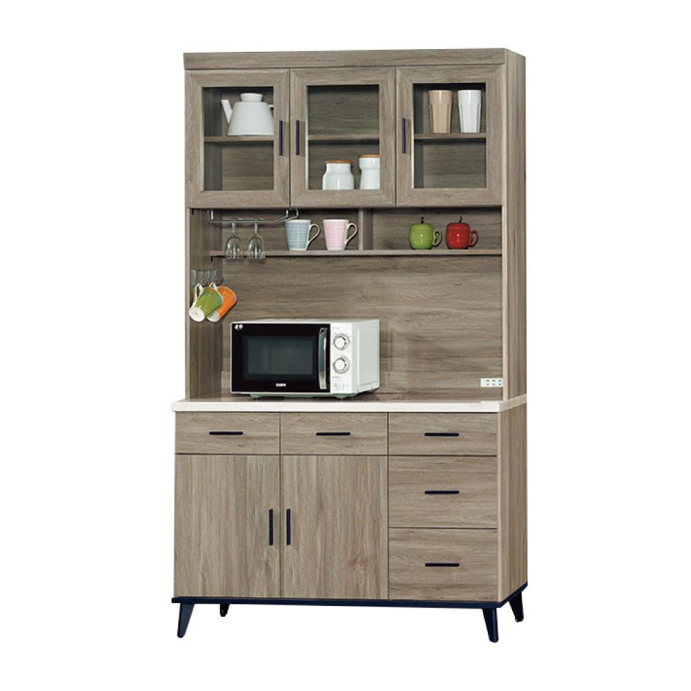 綠活居 波芬4尺仿石面木紋餐櫃/收納櫃(上+下座)-120.9x43x202.2cm-免組