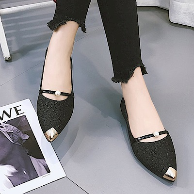 KEITH-WILL時尚鞋館 獨家款時尚大牌閃亮尖頭鞋-黑色