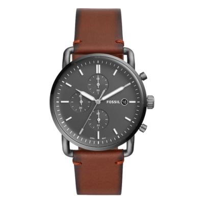 FOSSIL都會黑騎士三眼腕錶-棕(FS5523)/42mm