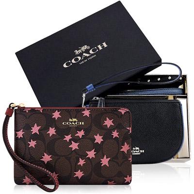 COACH 黑色鉚釘彎月手拿包禮盒組-附雙提帶+COACH 紅色星星大C PVC手拿包