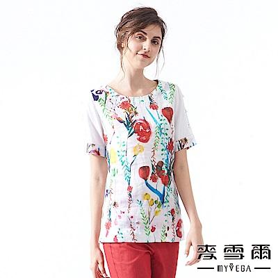 【麥雪爾】純麻渲染花藤珍珠造型袖上衣