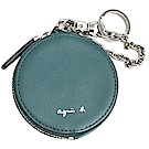 agnes b.經典品牌字母LOGO皮革掛飾零錢包(墨綠)