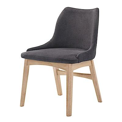 品家居 亞尼斯亞麻布橡膠木實木餐椅-53x59x84cm免組