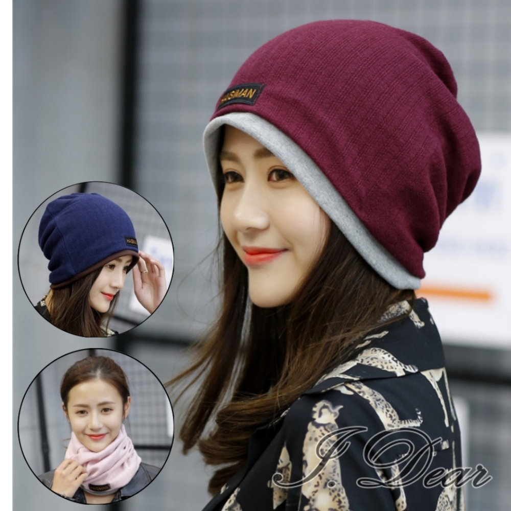 I.Dear-韓國男女中性雙層毛線針織套頭月子帽保暖帽圍脖(5色)