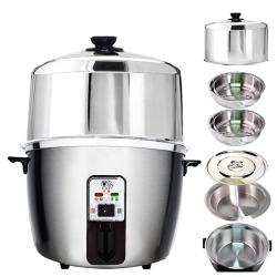 天蠶10人份不鏽鋼電鍋YL-10AA5(304不鏽鋼加高電鍋蓋+懸空內鍋及鍋蓋+2高蒸盤)