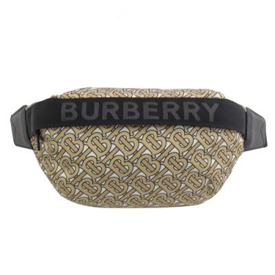 BURBERRY TB字紋尼龍拉鍊腰包/胸口包(米/白)