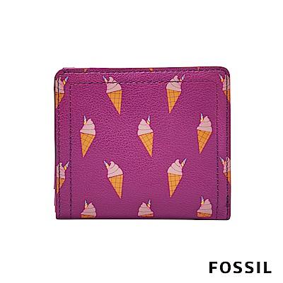 FOSSIL LOGAN 拉鍊零錢袋設計短夾-粉紅冰淇淋