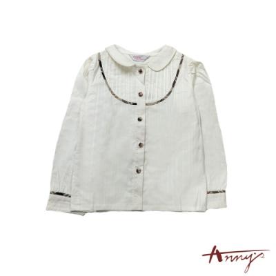 Annys氣質公主U型打摺格紋線條包釦百搭棉質舒適襯衫*9246米白
