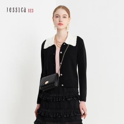 JESSICA RED - 氣質甜美撞色花邊翻領羊毛混紡開襟毛衣(黑)