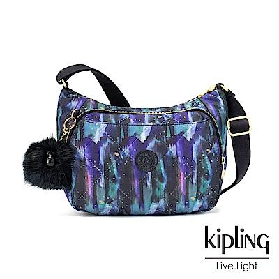 Kipling 渲染潑墨金點印花雙層側背包-CAI