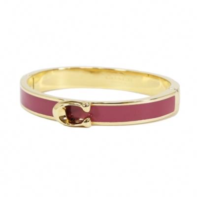 COACH C LOGO 磁扣拼色金屬手環(金/草莓紅)