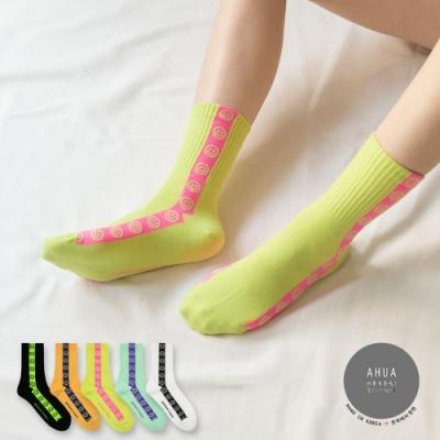 阿華有事嗎  韓國襪子  側邊直條笑臉中筒襪  韓妞必備 正韓百搭純棉襪