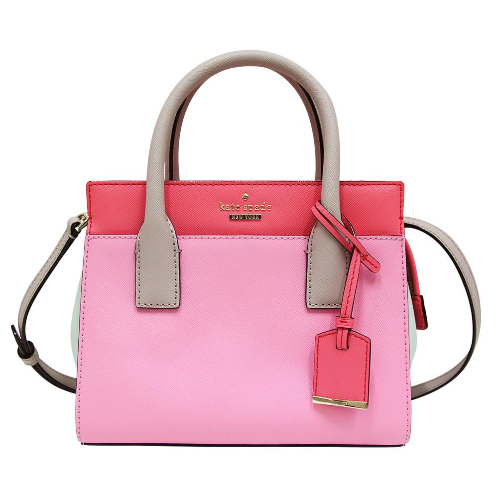 Kate spade Mini Candace 多色拼接防刮牛皮手提/斜背包-粉紅色