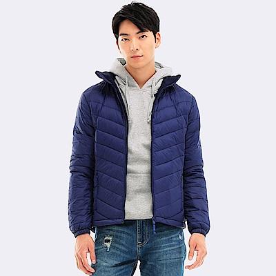 101原創 防潑水立領刷毛保暖羽絨外套-男-藍