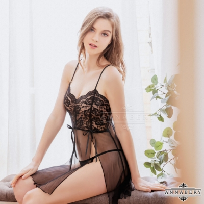 大尺碼Annabery 黑蕾絲透視薄紗二件式開襟丁字褲性感睡裙 黑 L-2L