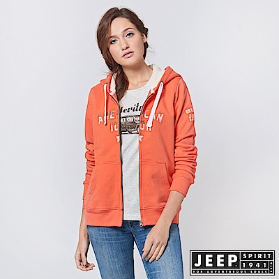 JEEP 女裝 運動風漸層刺繡長袖外套 -橘色