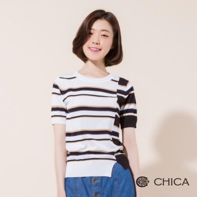 CHICA 法式不對稱剪裁條紋針織衫(2色)