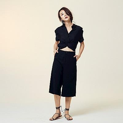 斜紋棉扭結短版襯衫-杏,黑