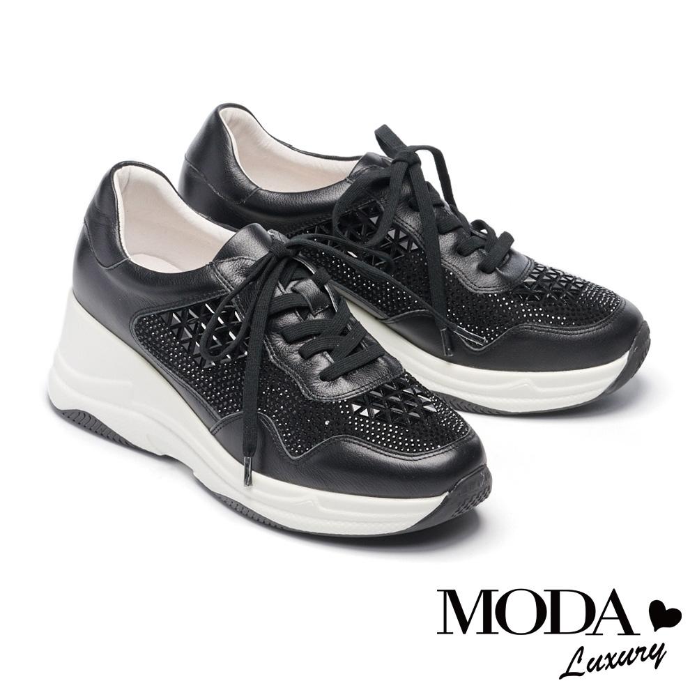 休閒鞋 MODA Luxury 酷炫華麗水鑽牛皮綁帶厚底休閒鞋-黑
