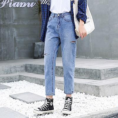 ALLK 男友風寬直筒牛仔褲 淺藍色(尺寸27-31腰)