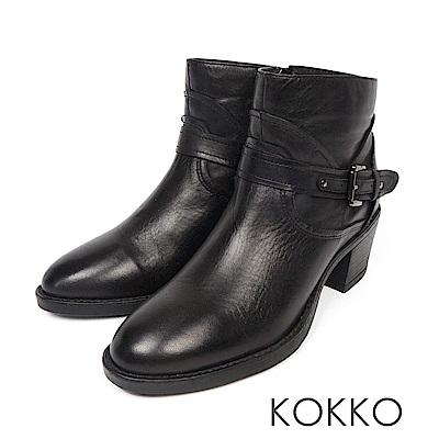 KOKKO - 英倫女紳擦色牛皮粗高跟短靴-黑巧克力